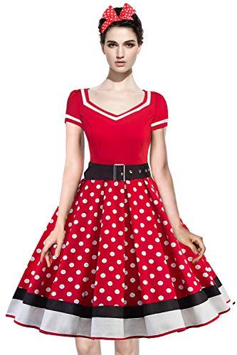 Axoe Damen 50er Jahre Kleider mit 1 Stück Stirnband Gepunktetes Cocktailkleid Rot Große Größen 48