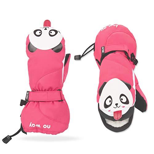 NAVESTAR Kinderhandschuhe Wasserdicht skihandschuhe mit der Magnetstreifen-Technik kann öffnen und schließen zum einfach Zugang und Spaß, Fäustlinge für 7-8 Jahre Mädchen Jungen, Weihnachten Geschenk -