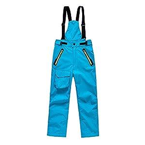 BeIM Kinder Skihose Schneehose Jungen Mädchen Funktionshose mit abnehmbaren Hosenträgern und Reißverschlusstaschen Innenfutter Größe 110-150cm