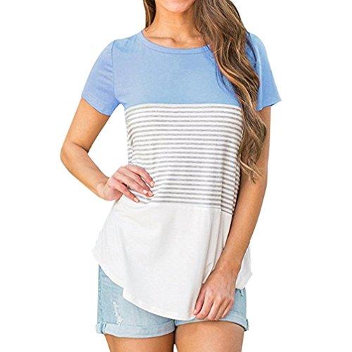 Hevoiok Damen Kurzarm-Shirt Dreifache Farbe Streifen Blockieren Oberteile Neu Frühling Sommer T Shirt Frauen Rundhals Casual Tops (Blau, XL) (Spitze Blockieren)