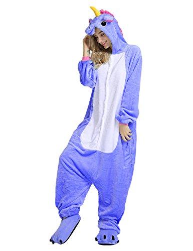 Cosplay Unicorn Pigiama Animali Unisex Pigiama Party Halloween Sleepwear Costume Cosplay Flanella Tuta S M L XL - LATH.PIN Blu Scuro