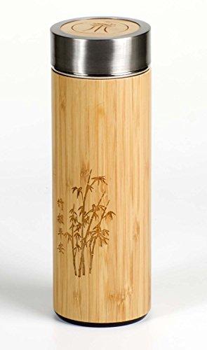 Fitessa Thermobecher aus hochwertigem Edelstahl mit Bambusmantel - Top Vakuumisolierung für 400ml Kaffee,Tee,Säfte etc - inkl. Tee- und Kaffeesieb