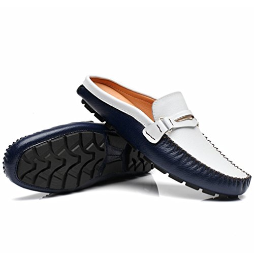 YOUJIA Herren Geschlossene Zehe Slipper Casual PU-Leder Slip On Sandalen Pantoletten Dunkel Blau