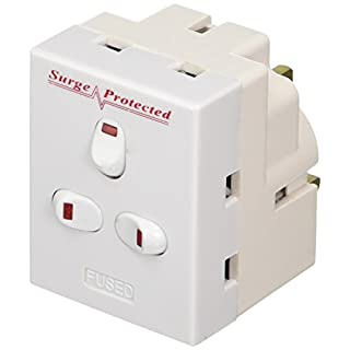 ct 13 A 3 Way 3 Gang Switched Surge Protected Plug-In Adapter with Neon Switch - White