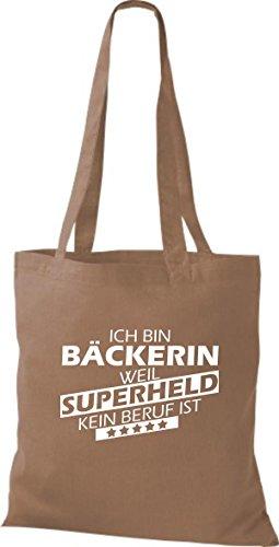 Shirtstown Stoffbeutel Ich bin Bäckerin, weil Superheld kein Beruf ist hellbraun