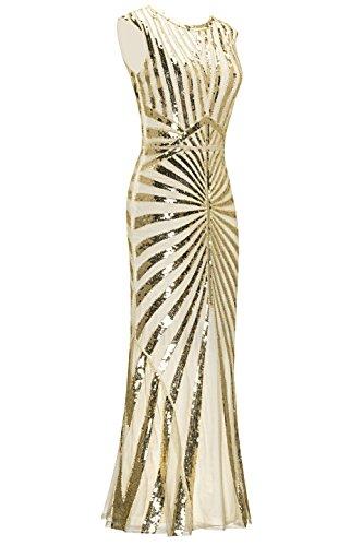 Metme Damen der 1920er Jahre Vintage Prom Fransen Pailletten lange Flapper brüllend Gatsby Kleid für Party Aprikose