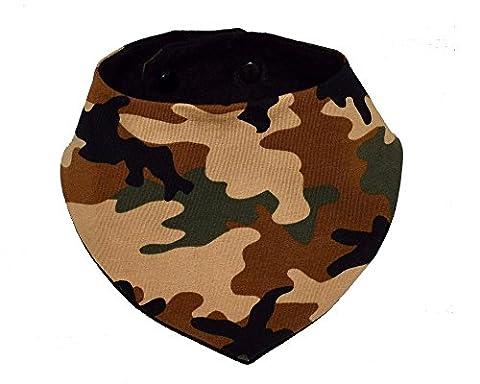 Bavoir bandana avec cachet de camouflage, convient âgés de Nouveau-né à 24 mois, faites par moi en tissu de coton dans la flanelle de visage externe et absorbant à l'intérieur
