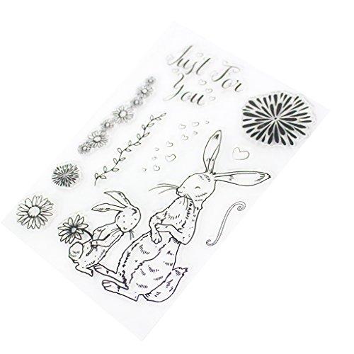 wanfor CLEAR STAMP, Kaninchen Thema transparent 16x 11cm Silikon Transparent Gummi Stempel Tabelle, für Karte machen Dekoration und DIY Scrapbooking Album Papier