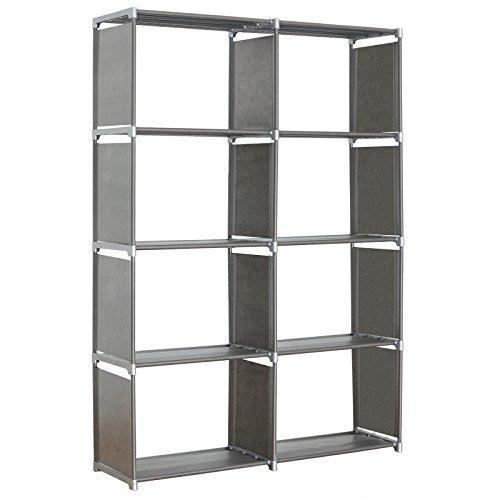 WOLTU RGB9264sb-c Lagerregal Standregal Aufbewahrungregal Regale für Bücher, Aufbewahrungregal 2 x 4 Ebenen mehr Raum Bücherregal, Silber,ca.99x30x142cm (2 4 X Regal)