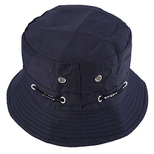 Faleto Bob chapeau pêcheur en coton unisexe bucket hat pliable avec chaîne chapeau pour adultes et juniors couleur varié Bleu foncé