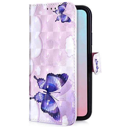 Uposao Kompatibel mit Huawei P20 Lite Handyhülle Handytasche Luxus Glitzer Bling Glänzend Bunt Muster Schutzhülle Flip Case Brieftasche Klapphülle Leder Hülle Cover,Schmetterling Blumen