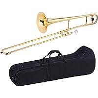 Ammoon Trombón Tenor Latón Oro Laca Bb Tono Bemol Instrumento de Viento con el Caso de Cuproníquel Boquilla de Limpieza en Palo