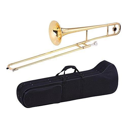 Ammoon Tenor Posaune Messing Gold Lack Bb Ton B flach Blasinstrument mit Kupfernickel Mundstück Cleaning Stick Etui