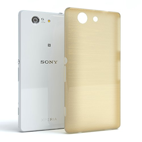 "Sony Xperia Z1 Compact Hülle - EAZY CASE Slimcover ""Clear"" Handyhülle - Schutzhülle als Smartphone Case in Schwarz / Anthrazit Brushed Gold"