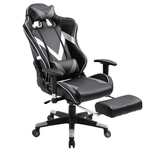 Kitechildrrd Gamingstuhl mit Fußablage XL Racing Stuhl Bürostuhl Fernsehsessel Drehstuhl höhenverstellung Massagesessel Relaxsessel Chefsessel Schreibtischstuhl flach 170° Belastbar bis 150kg (Weiß) -