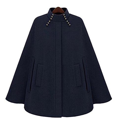 Mode Damen Zweireiher Wollmantel Mantel Kap Trench Ponchos Cape Parka Jacke (Belted Pullover Wolle)
