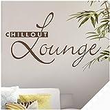 Exklusivpro Wandtattoo Spruch Wand-Worte Chillout Lounge inkl. Rakel (wrt08 weiß) 120 x 69 cm mit Farb- u. Größenauswahl