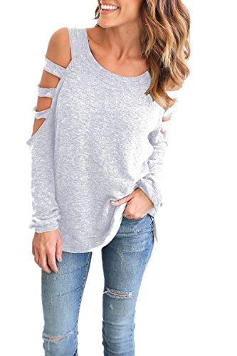 yming Frauen Hemd aus Schulter Bluse Hohl Out Lange Ärmel Lose Shirt Tops Gr. XXX-Large, hellgrau (Zurück Schlüsselloch Tankini)