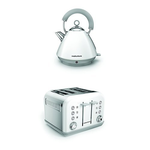 Morphy Richards 102031 Accents Pyramid Kettle and 242032 Accents 4 Slice Toaster – White