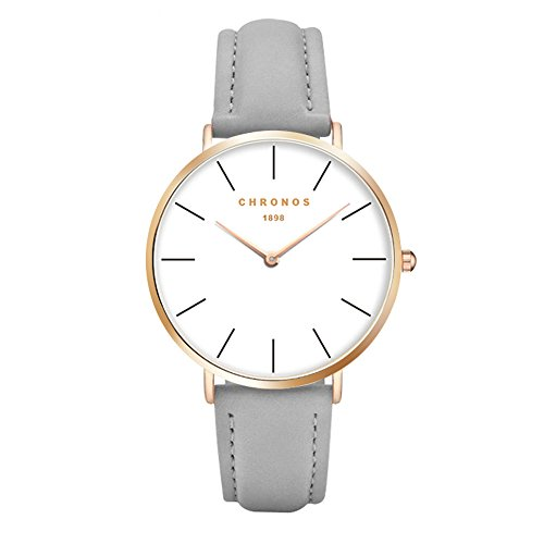 - 41KOCbv FsL - Fashion Women Quartz Watch PU Leather Strap Ladies Girls Dress WristWatch,Grey-Gold