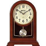 QFQ Reloj de Mesa silencioso de Madera Maciza de Color castaño, decoración de Escritorio Creativa Retro de la Sala de Estar Reloj de Estilo Europeo Decoración hogareña