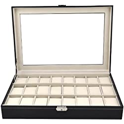 Beyondfashion 24 Slots Grids Wrist Watch PVC Windowed Display Box Top Jewelry Case Organizer Holder