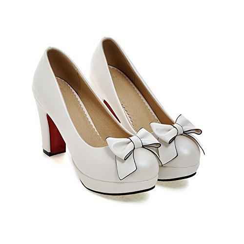 VogueZone009 Femme Couleur Unie Matière Souple Tire Rond Chaussures Légeres Blanc
