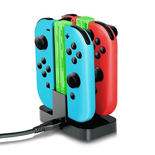 Joy-Con Ladegerät, Nintendo Switch Joy-Con Ladegerät Dock Stand 4-Controller mit Licht Ladegerät