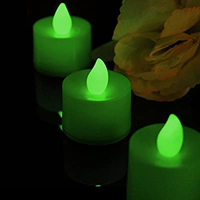 Green LED Tealights Set of 4 Flameless Battery Operated Candles for Halloween, Xmas, Party and Home by PK Green from PK Green