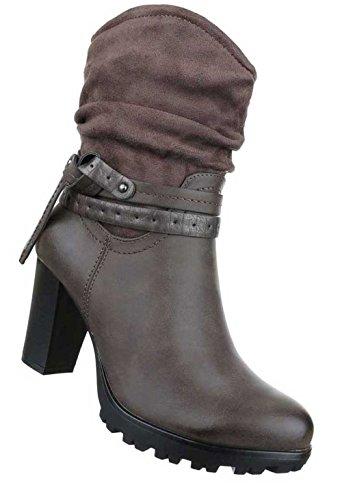 Damen Stiefeletten Schuhe Stiefel Used Optik Grau Braun (2t Cowboy Kostüme)