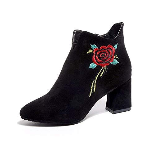 Seite Blume Sandalen (DEED Damen Kurze Stiefel nationalen Stil Stickerei Blume Seite Reißverschluss wies Ferse und Elegante Dame Schuhe,39 EU,Schwarz)
