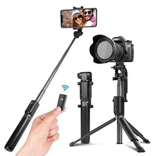 Power Theory Bluetooth Selfie Stick mit Handy und Kamera Stativ (80cm) - Selfiestick mit Fernauslöser und Verlängerbaren Stativbeinen für alle Smartphones, Digitalkameras und GoPro - Selfi Stange -