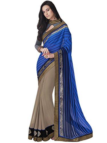 Jay Sarees Faux Georgette Saree With Blouse Piece (Jcsari3004-40304_Blue_Free Size)