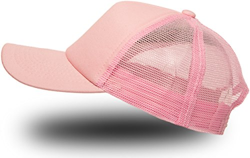 Trucker Cap Mütze Classic Happy für Herren und Damen, One Size Snapback (Light Pink)