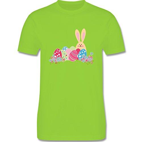 Ostern - Osterhase mit Eiern - Herren Premium T-Shirt Hellgrün