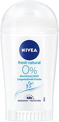 Nivea Fresh Natural Deo Stift, Deo Stick ohne Aluminium mit frischem Blumenduft, Deodorant mit 48h Schutz pflegt die Haut, im 6er Pack (6x 50 ml) - Aluminium 48