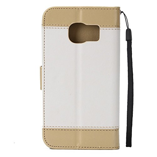 EKINHUI Case Cover Gemischte Farben Rose Blume matt Premium PU Leder Brieftasche Stand Case Cover mit Lanyard & Card Slots für Samsung Galaxy S6 Edge ( Color : Brown ) White