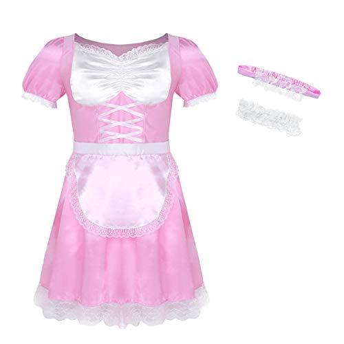 Alvivi Herren Zimmermädchen Kostüm Dienstmädchen Cosplay Männerkostüm Maid Kostüm Hausmädchen Lolita Männer Sissy Cosplay Verkleidung Rosa Medium