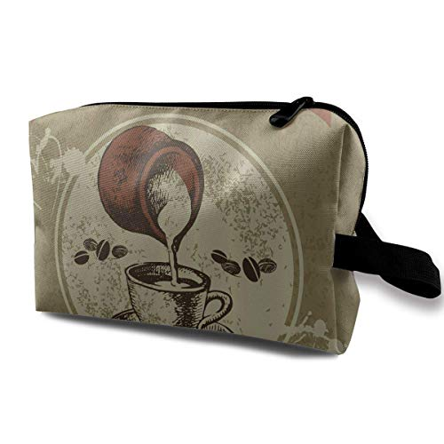Travel Hanging Cosmetic Bags Vector Vintage Coffee Cups Multi-Functional Toiletry Makeup Organizer Western-handy-fall