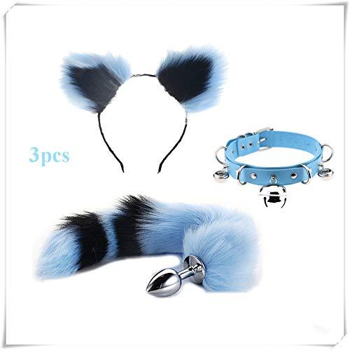 Ieyol 3pcs Plüsch Cat Ear Girl Stirnband Glocke blau Rundhals mit B- ̈1tt an-?l Pl- ̈ ́g T-?-ys für Cosplay Kostüm (Blau und Schwarz)