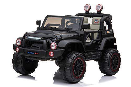 Mondial Toys Auto ELETTRICA 12V per Bambini 2 POSTI Maxi Fuoristrada con Telecomando 2.4G Soft Start AMMORTIZZATORI Full Optional Nero