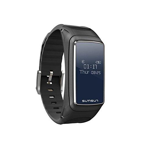 Fitness TrackerB7 2 In 1 Herzfrequenz-Monitore Schlaf-Monitoring Smart Armband Bluetooth Headset Gesundheit Sport Wristbands Aktivität Schrittzähler Aufruf, um Musik zu hören Smart Benachrichtigungen Push für Android Phone und IOS , black