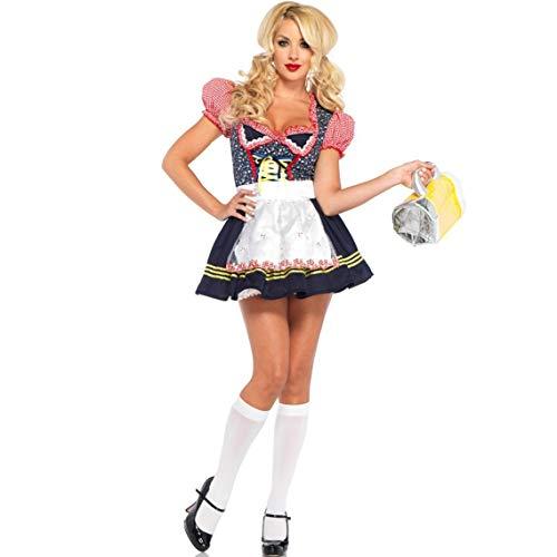 ZSJ~SW Bestes Kostüm Halloween Dienstmädchen Kostüm Bühnenkostüm Kariertes Deutsches Bierfest (Color : Yellow, Size : S)