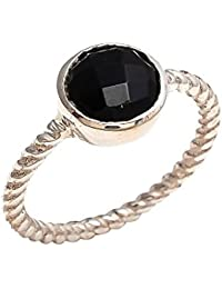 Black Onyx 10mm Round Faceted 925 Sterling Silver Plated Bezel Ring