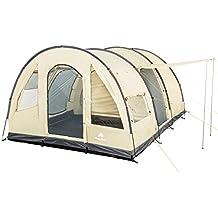 CampFeuer - Großes Tunnelzelt, creme/schwarz, 5000 mm Wassersäule, Campingzelt
