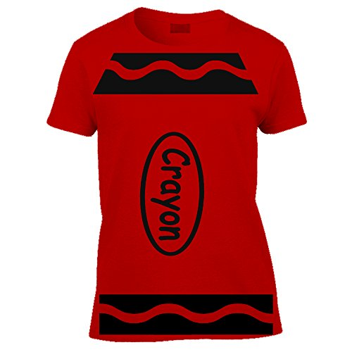 red planet Crayon Tshirt Funny Novelty World Book Day School Tshirt-Womens Short Sleeved Tshirt
