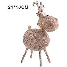 Figuras Adornos Arbol Navidad, diseño de ciervo hecho a mano, ideal como regalo de