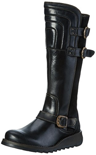 FLY London Damen Sher730fly Biker Boots, Schwarz (Black/Black 000), 38 EU (Suede Buckle Boot)