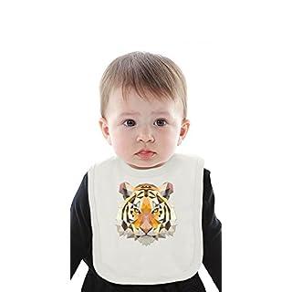 Triangle Tiger Head Organic Baby Bib With Ties Medium