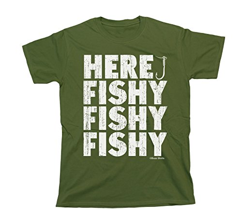 Buzz Shirts Here Fishy Fishy Fishy T-Shirt Mens Ladies Unisex Fit Funny Fishing
